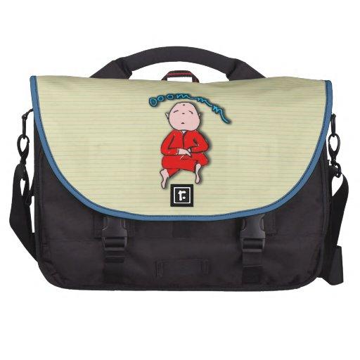 Om Boy in Red Meditation Laptop Commuter Bag