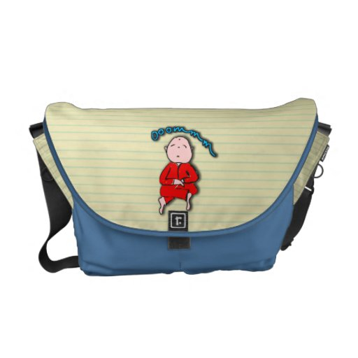 Om Boy in Red Meditation Courier Bags