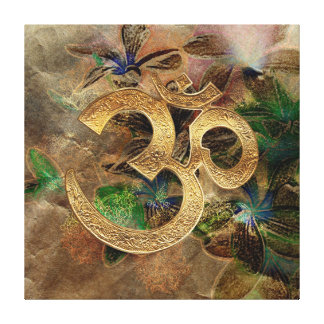 OM brass gold brown floral Stretched Canvas Print