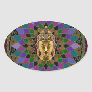 Om Buddha Mandala Oval Sticker