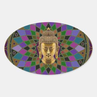 Om Buddha Mandala Oval Stickers