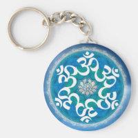 Om Circle Snowflake Keychains
