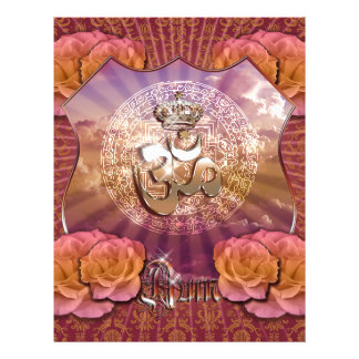 Om Crown emblem roses gold purple violett Yoga Flyer