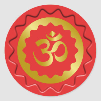 OM de oro encera el sello Pegatina Redonda