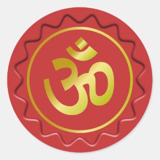 OM de oro firma el sello rojo de la cera Etiqueta Redonda