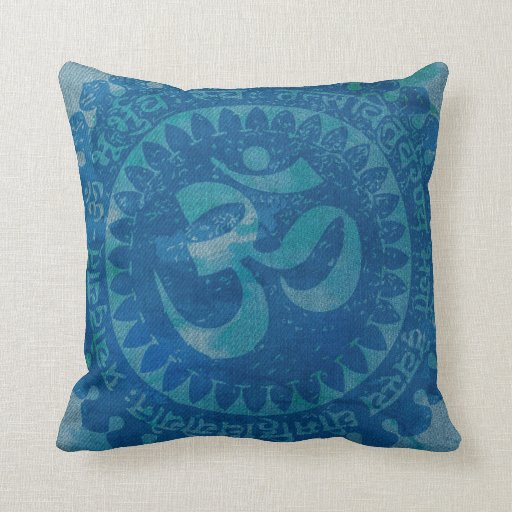 Om denim throw pillow