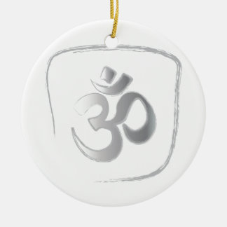 OM Double-Sided CERAMIC ROUND CHRISTMAS ORNAMENT