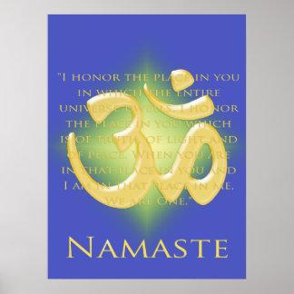 OM en el azul y el oro - Namaste Impresiones
