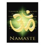 OM en el negro y el oro - Namaste Invitación 10,8 X 13,9 Cm