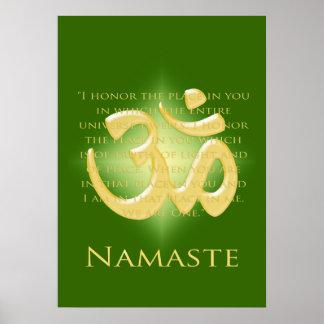 OM en el verde y el oro - Namaste Impresiones