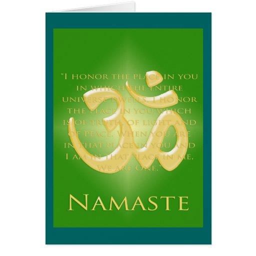 OM en el verde y el oro - Namaste Tarjeta De Felicitación
