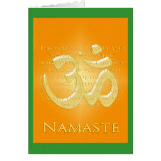 OM en los naranjas y el oro - Namaste Tarjeta De Felicitación