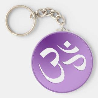 OM, en púrpura y blanco Llavero Redondo Tipo Pin