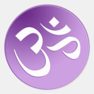 OM, en púrpura y blanco Etiqueta Redonda
