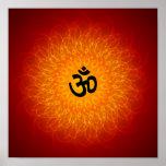 OM espiritual en el poster de la mandala