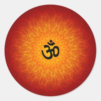 OM espiritual en mandala Pegatina Redonda