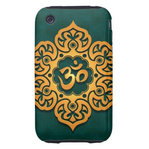 OM floral azul de oro diseña iPhone 3 Tough Protectores