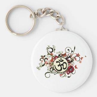 OM floral budista Llavero Redondo Tipo Pin