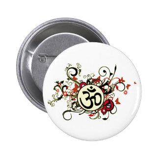 OM floral budista Pin Redondo 5 Cm