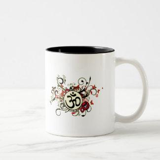 OM floral budista Tazas De Café
