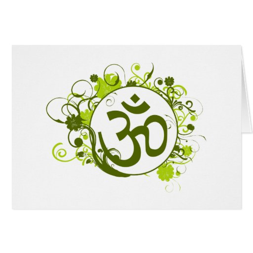 OM floral verde budista Felicitacion