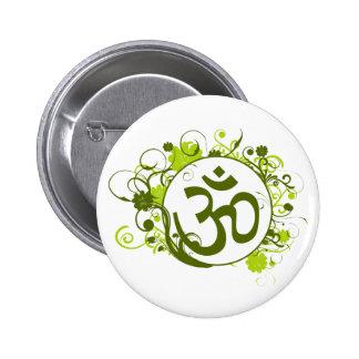 OM floral verde budista Pin Redondo 5 Cm