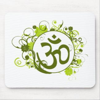 OM floral verde budista Tapete De Raton