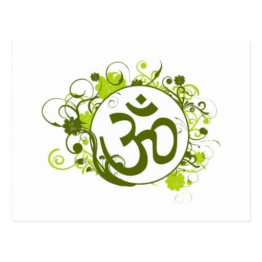 OM floral verde budista Tarjeta Postal