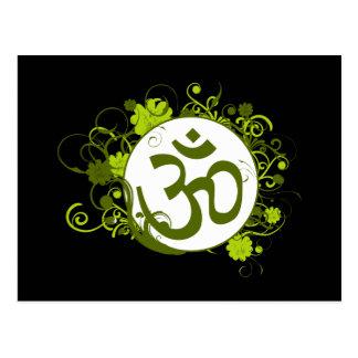 OM floral verde budista Tarjetas Postales