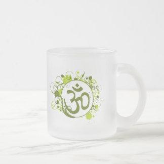 OM floral verde budista Tazas De Café