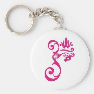 om_flourish basic round button keychain