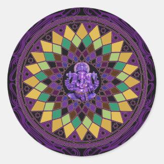 Om Ganesh Mandala Classic Round Sticker