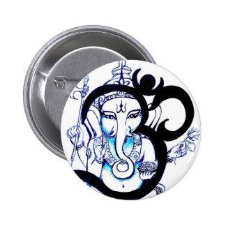 OM  -  Ganesha 2 Inch Round Button