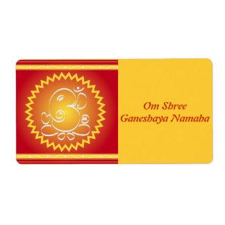 OM Ganesha con la estrella amarilla Etiquetas De Envío