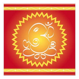OM Ganesha con la estrella amarilla Invitaciones Personales
