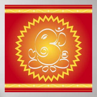OM Ganesha con la estrella amarilla Póster