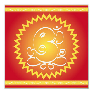 Om Ganesha with yellow star Card