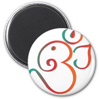 Om-ganpati-green-orange 2 Inch Round Magnet