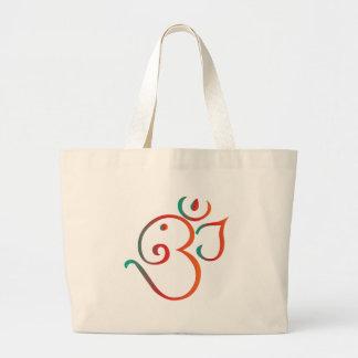Om-ganpati-green-orange Large Tote Bag