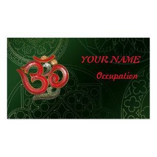 OM green red mandala business card