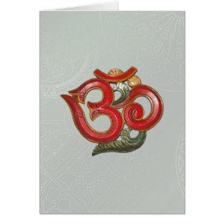 OM green red mandala Greeting Card