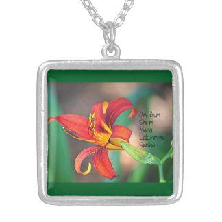 Om Gum Shrim Maha Lakshmiyei Swaha Silver Plated Necklace