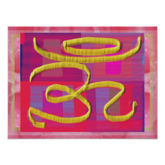 Om Healing Sign on Silk Screen Poster