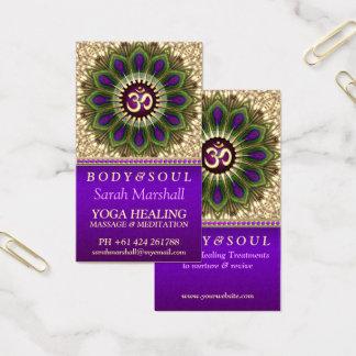 OM Holistic Royal Purple+Green Peacock Mandala Business Card