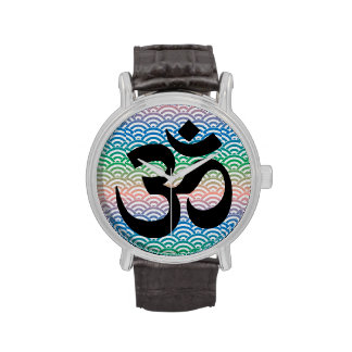 Om in a sea of colorful waves wrist watch