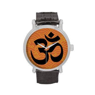 Om in a sea of orange waves wristwatch