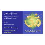 Om in Blue & Gold - Namaste Double-Sided Standard Business Cards (Pack Of 100)