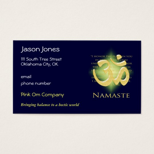 Om in Green & Gold - Namaste Business Card