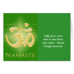 Om in Green & Gold - Namaste Greeting Card