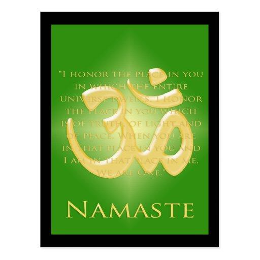 Om in Green & Gold - Namaste Post Cards
